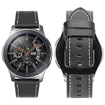 iBazal 22mm Correa Cuero Liberación Rápida Pulseras Compatible Galaxy Watch 46mm,Gear S3 Frontier Classic,Huawei GT/2 Classic/Honor Magic,Ticwatch ...