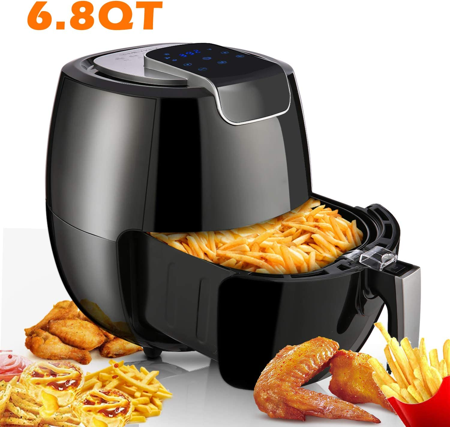 Air Fryer XL 6.8QT, 1800W Electric Hot Air Fryers Oven Oilless Cooker, LCD Digital Touchscreen, 8 Cooking Presets, Preheat Nonstick Basket for Fast Healthier Fried Food