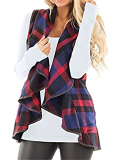 CXINS Womens Fashion Lapel Open Front Sleeveless Plaid Vest Cardigan Coat  with Pocket 6c665a70d