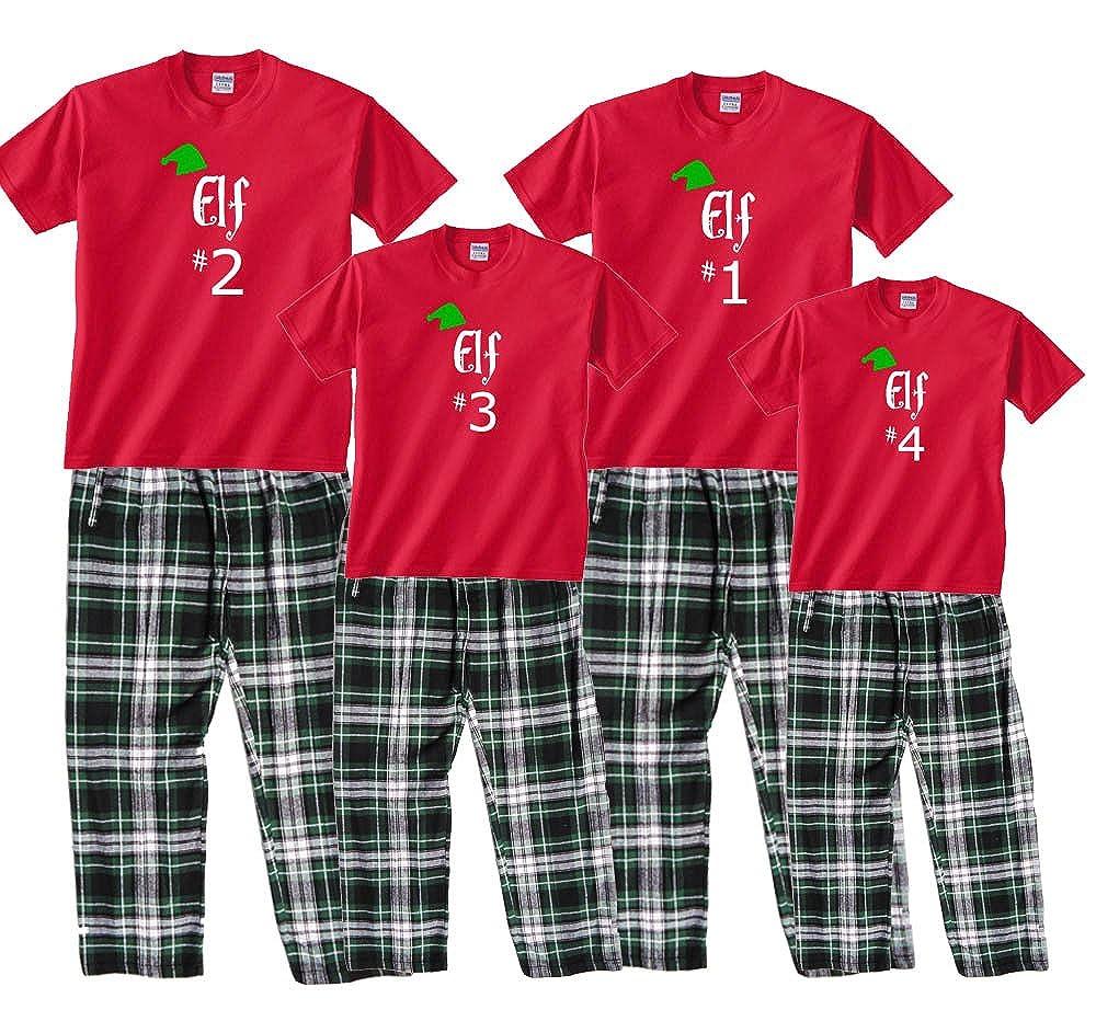 Amazon.com  Family Matching Christmas Pajamas Santa s Elf Number  Personalized  Clothing 27cefa4fa