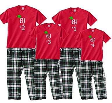 bae5cf791e Amazon.com  Family Matching Christmas Pajamas Santa s Elf Number  Personalized  Clothing