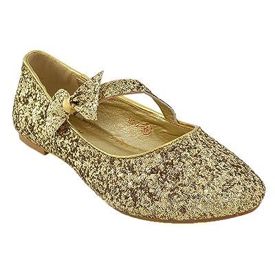 ESSEX GLAM Women Flats Close Toe Bow Strap Wedding Bridal Shoes   Shoes