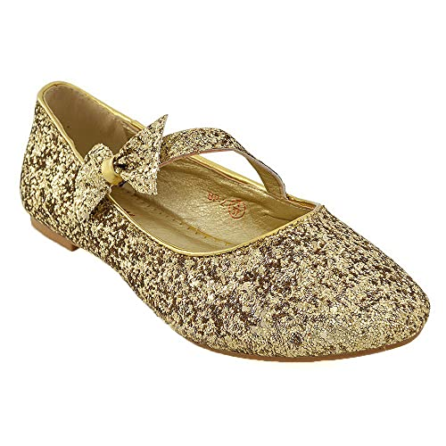 5584e316a935 ESSEX GLAM New Womens Pumps Flat Bow Glitter Ladies Ballet Ballerina Dolly  Bridal Shoes Size 3-9  Amazon.co.uk  Shoes   Bags