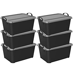 Life Story Black Stackable Closet & Storage Box 55 Quart Containers, (6 Pack)