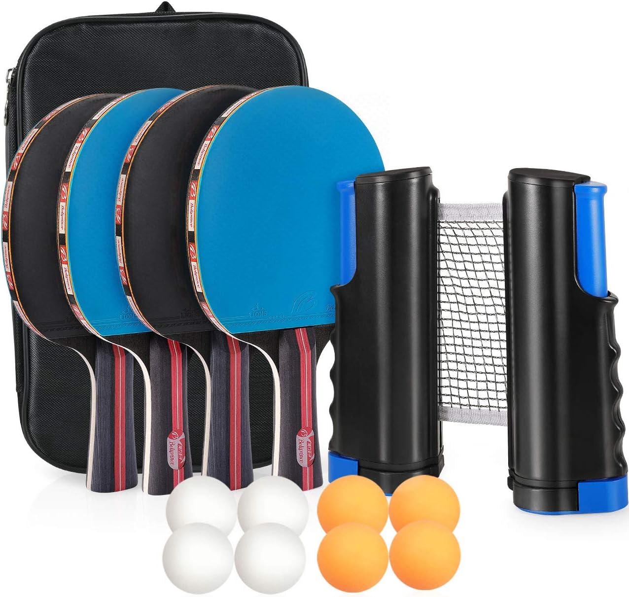 Tencoz Sets de Ping Pong, Raquetas de Tenis de Mesa con 4 Palas de Ping Pong Profesional, 8 Pelotas de Ping Pong, Red de Tenis de Mesa para Interior y Al Aire Libre