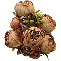 Luyue Vintage Artificial Peony Silk Flowers Bouquet, Coffee