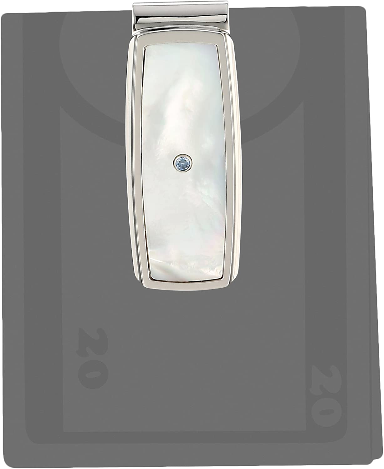 Mens Stainless Steel Mother of Pearl Inlay with Created Sapphire Accent Money Clip