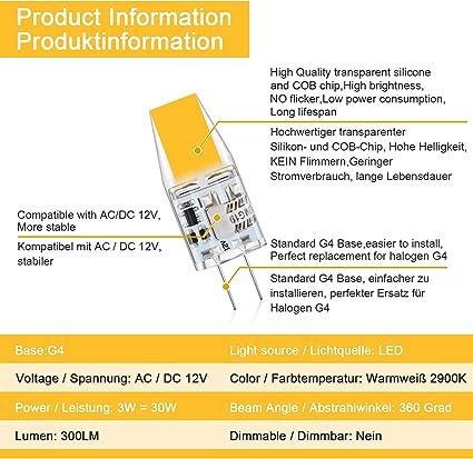 Defurhome G4 LED Bombillas, 3W Reemplaza a las bombillas halógenas de 30W equivalentes, 300LM, Blanco Cálido 2900K, AC/DC 12V, sin parpadeo, No regulable, paquete de 5: Amazon.es: Iluminación