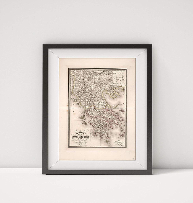 Infinite Photographs 1828 Map of Greece|Carte Generale de la Grece Moderne|Title: Carte Generale de la Grece Moderne.