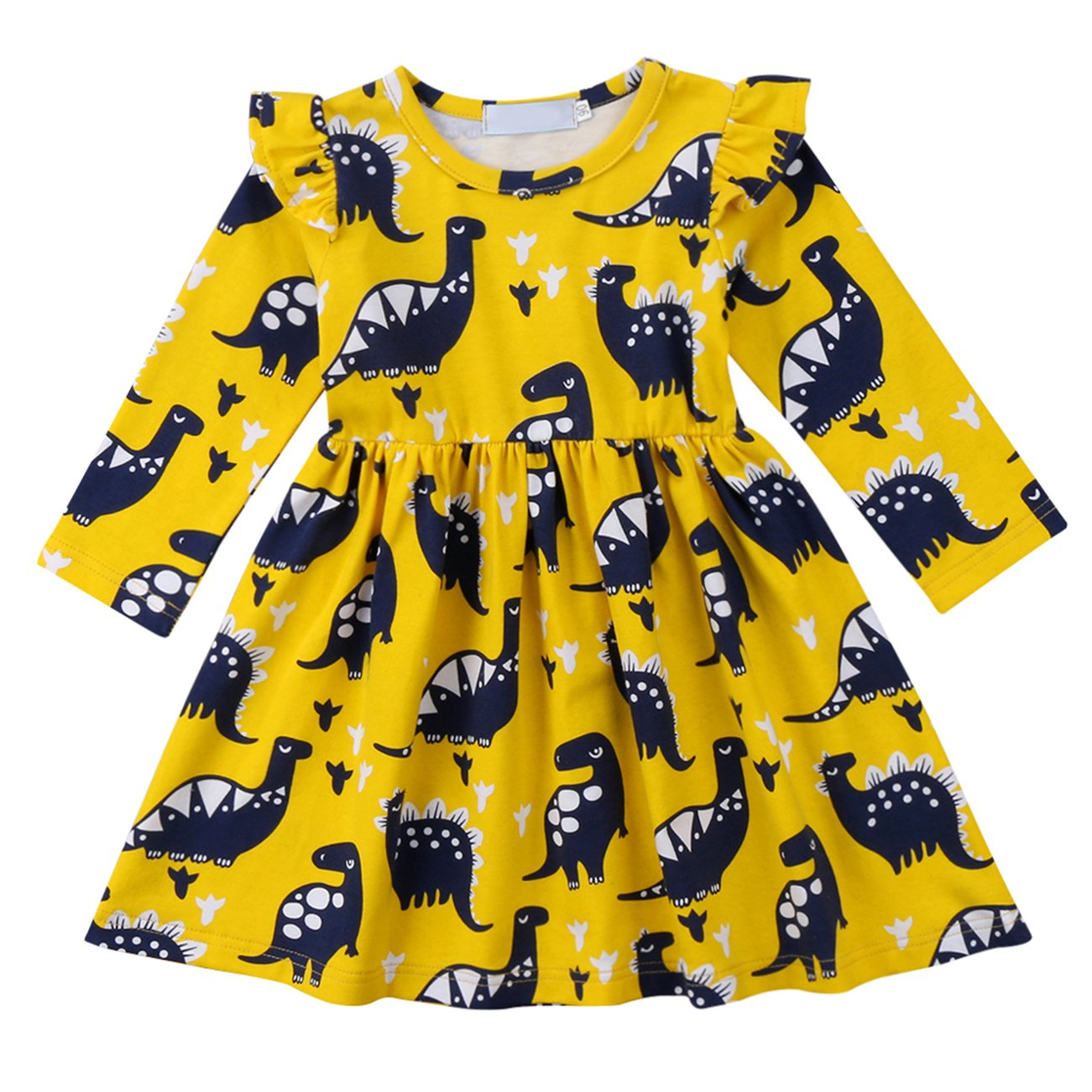 Qiylii Toddler Kids Baby Girl Dinosaur Dresses Ruffle Long Sleeve Holiday Dress Outfits Clothes