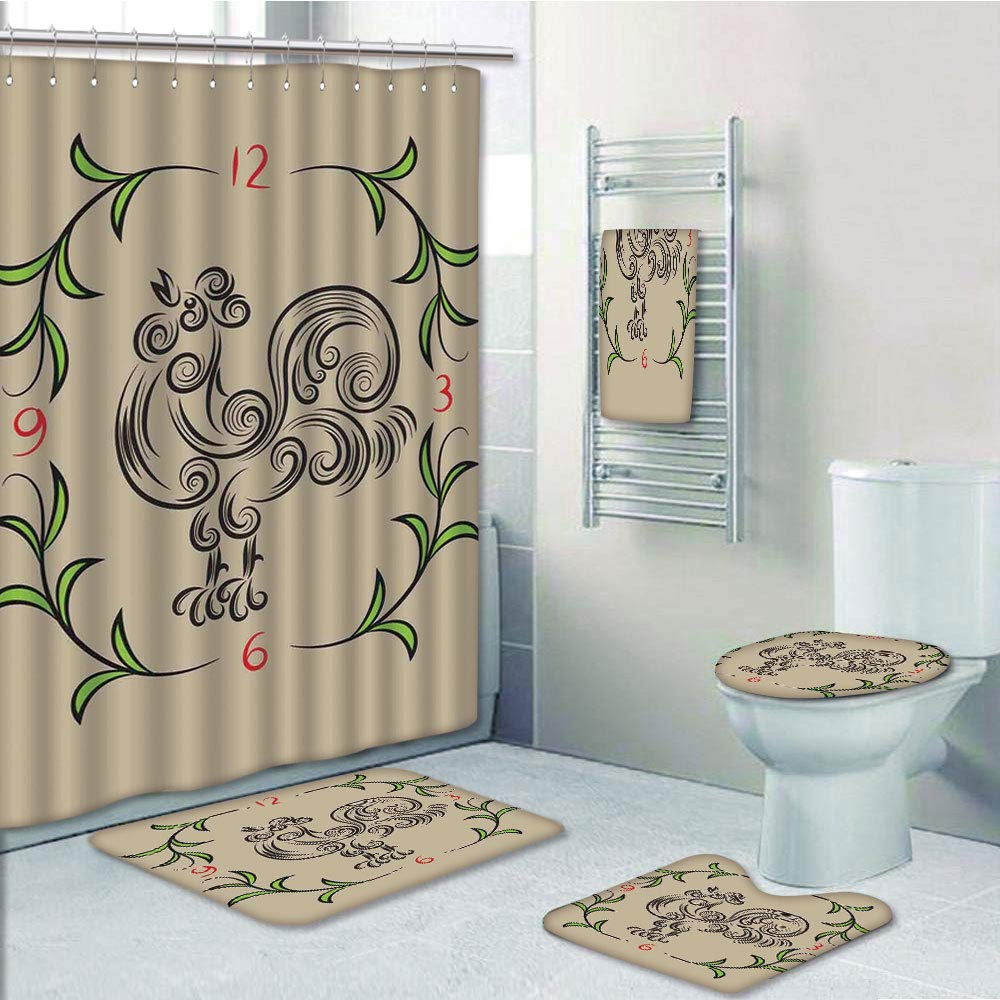 Bathroom 5 Piece Set shower curtain 3d print,Kitchen Decor,Rooster and Floral Art Decorative Clock Time Swirls Leaves Farm Animal Theme Decoration,Grey Green,Bath Mat,Bathroom Carpet Rug,Non-Slip,Bath