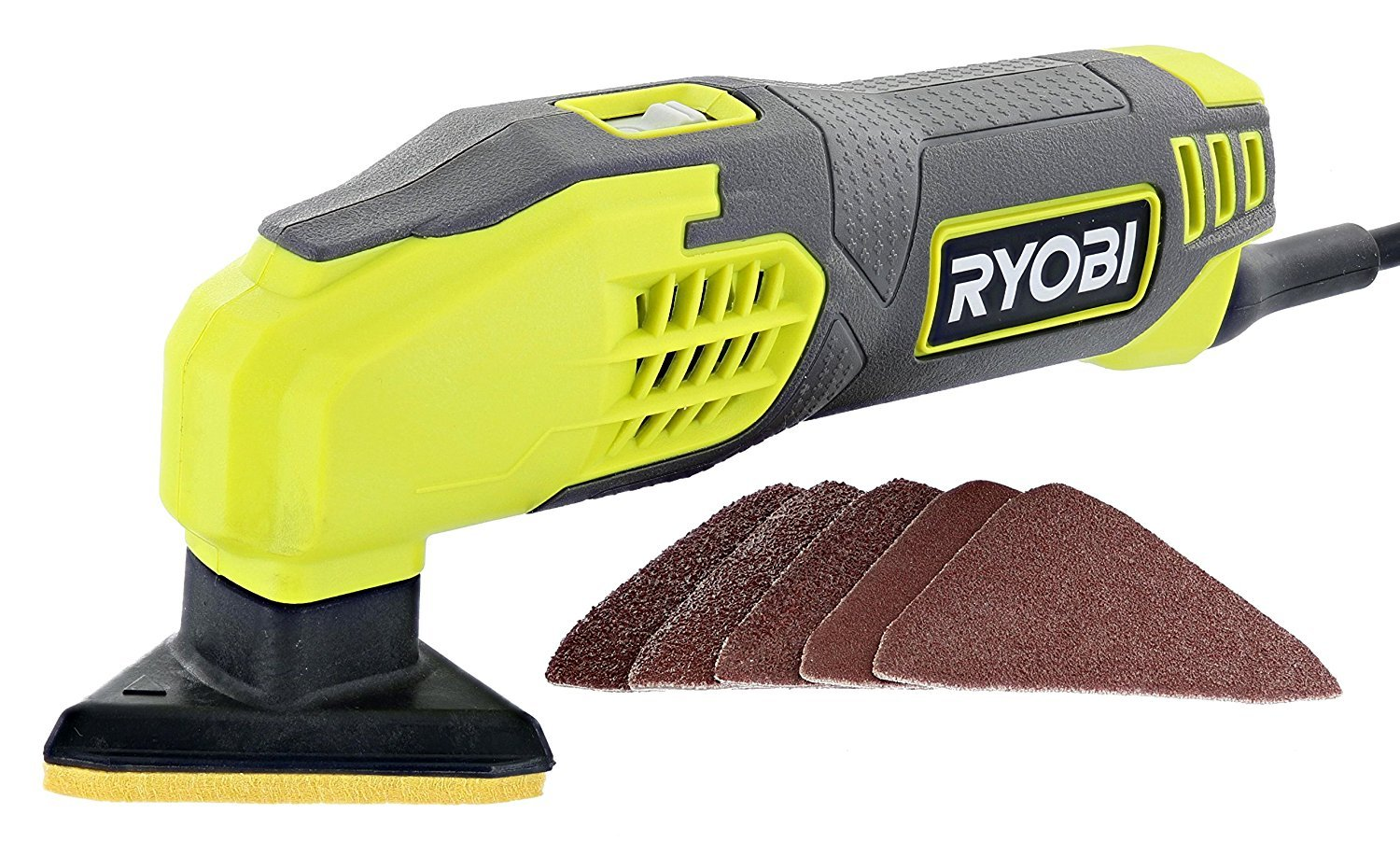 Ryobi DS1200 .4 Amp 13,000 OBM Corded 2-7 8 Detail Sander w Triangular Head and 5 Sanding Pads