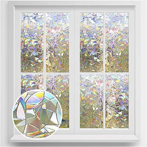 rabbitgoo Window Privacy Film, Rainbow Window Clings, 3D Decorative Window Vinyl, Stained Glass Window Decals, Static Cling Window Sticker Non-Adhesive, 35.4 x 157.4 inches