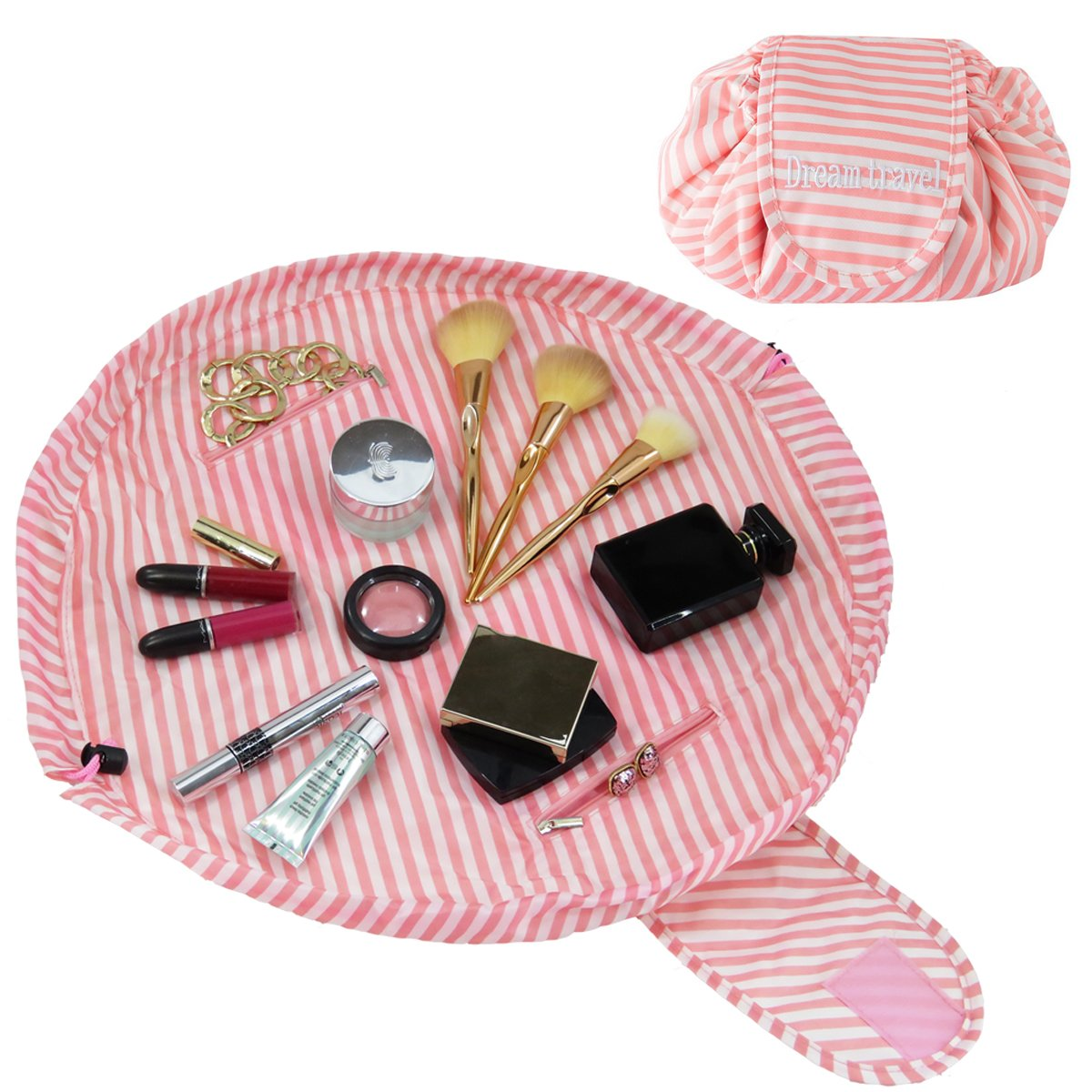 Drawstring Make-up Bag - Lay Flat Portable Cosmetic Organiser - Large Travel Size for Woman Or Man