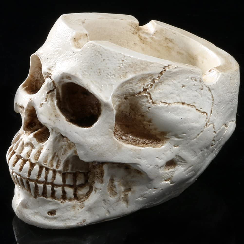 Gudessly Resin Human Skull Ashtray Home Ornaments for Scary Halloween Decorations,Decorative Skulls,Skeletons Figurines for Bar Accessories,Smoking Room Decor for Smokers