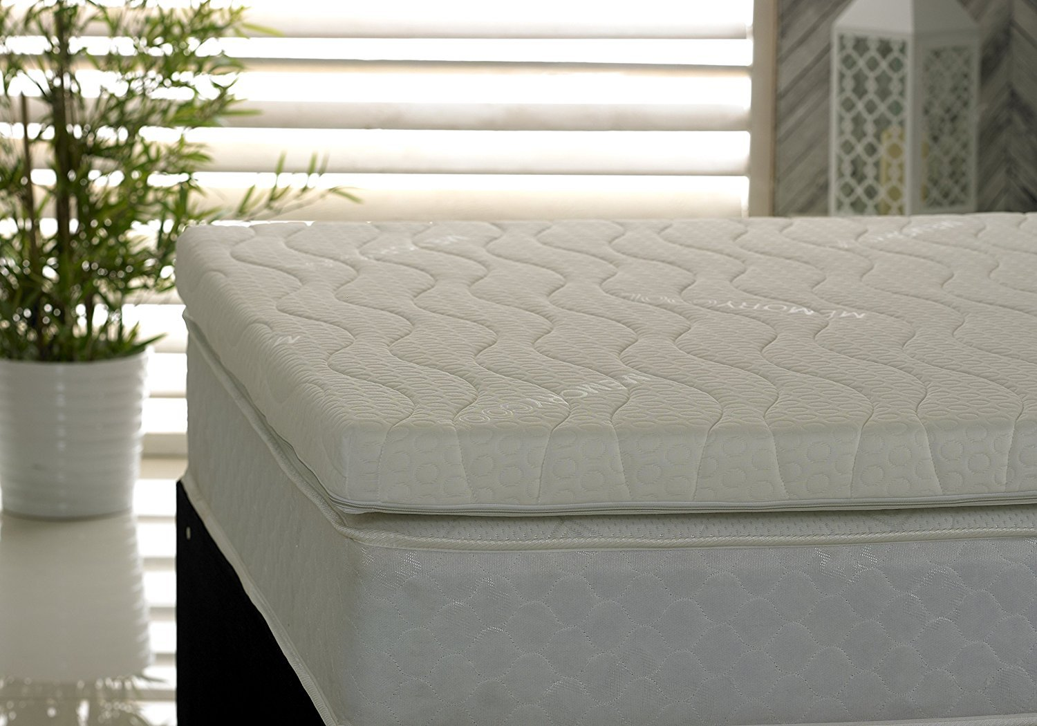 3-Inch UK King Visco Therapy Memory Foam Fibre Mattress Topper with Luxury Cover