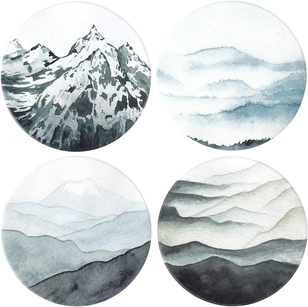 Lahome Mountain Range Coasters - Round Drinks Absorbent Stone Coaster Set With Ceramic Stone and Cork Base for Kinds of Mugs and Cups (Mountain Range, 4)