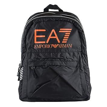 90580f25a1fc Emporio Armani EA7 Black Logo Decorated Unisex Backpack  Amazon.co ...