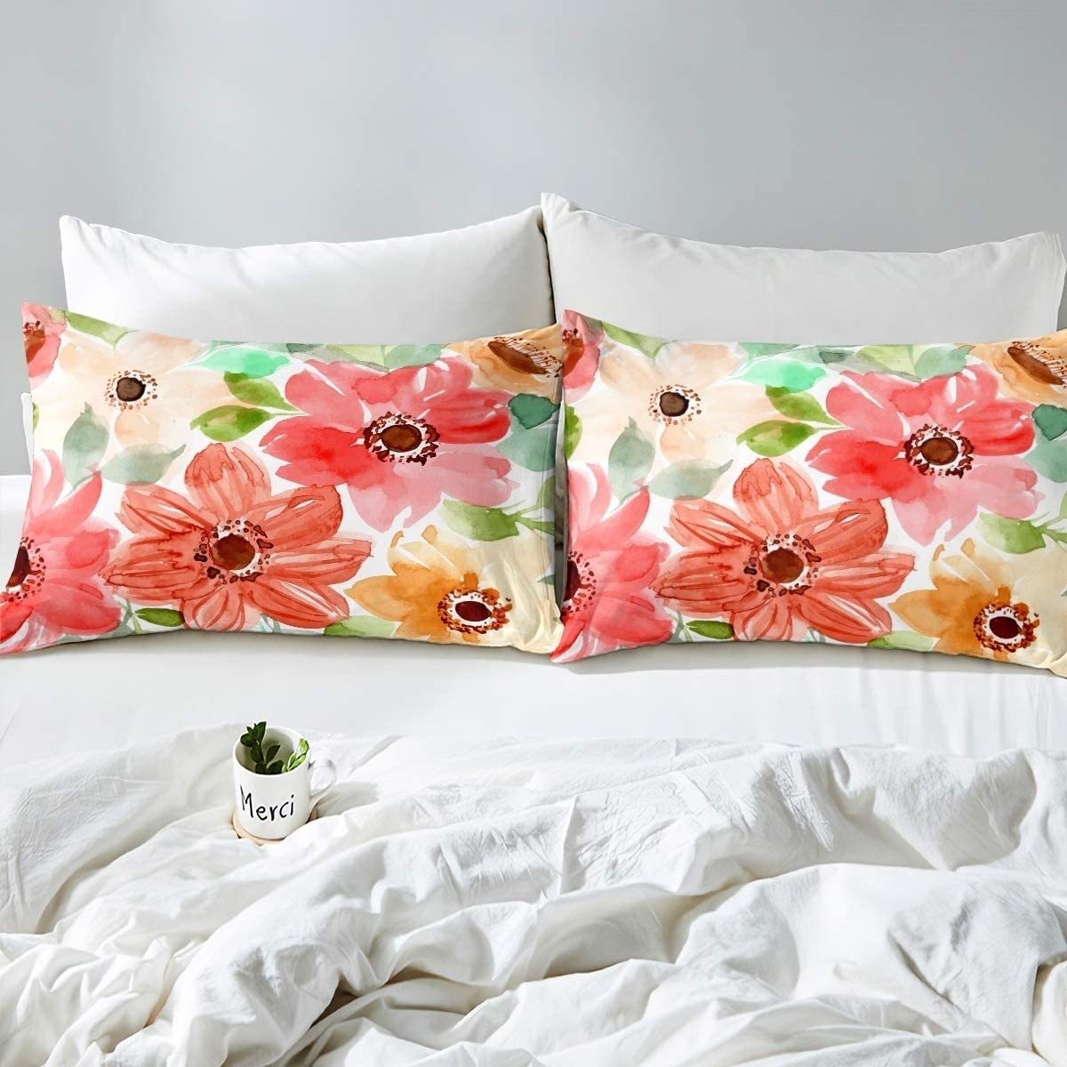 1 Fitted Sheet + 1 Pillow Case Loussiesd Flower Fitted Sheet for Kids Girls Blooming Flowers Decor Bedding Set Soft Polyester Bed Sheet Set 2pcs ,Twin Size