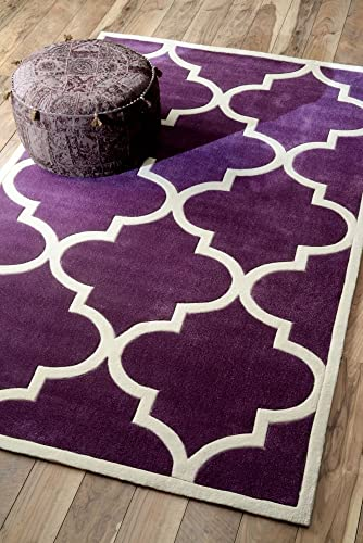 nuLOOM Cine Collection Contemporary Fez Hand Made Trellis Area Rug, 3-Feet 6-Inch by 5-Feet 6-Inch, Purple