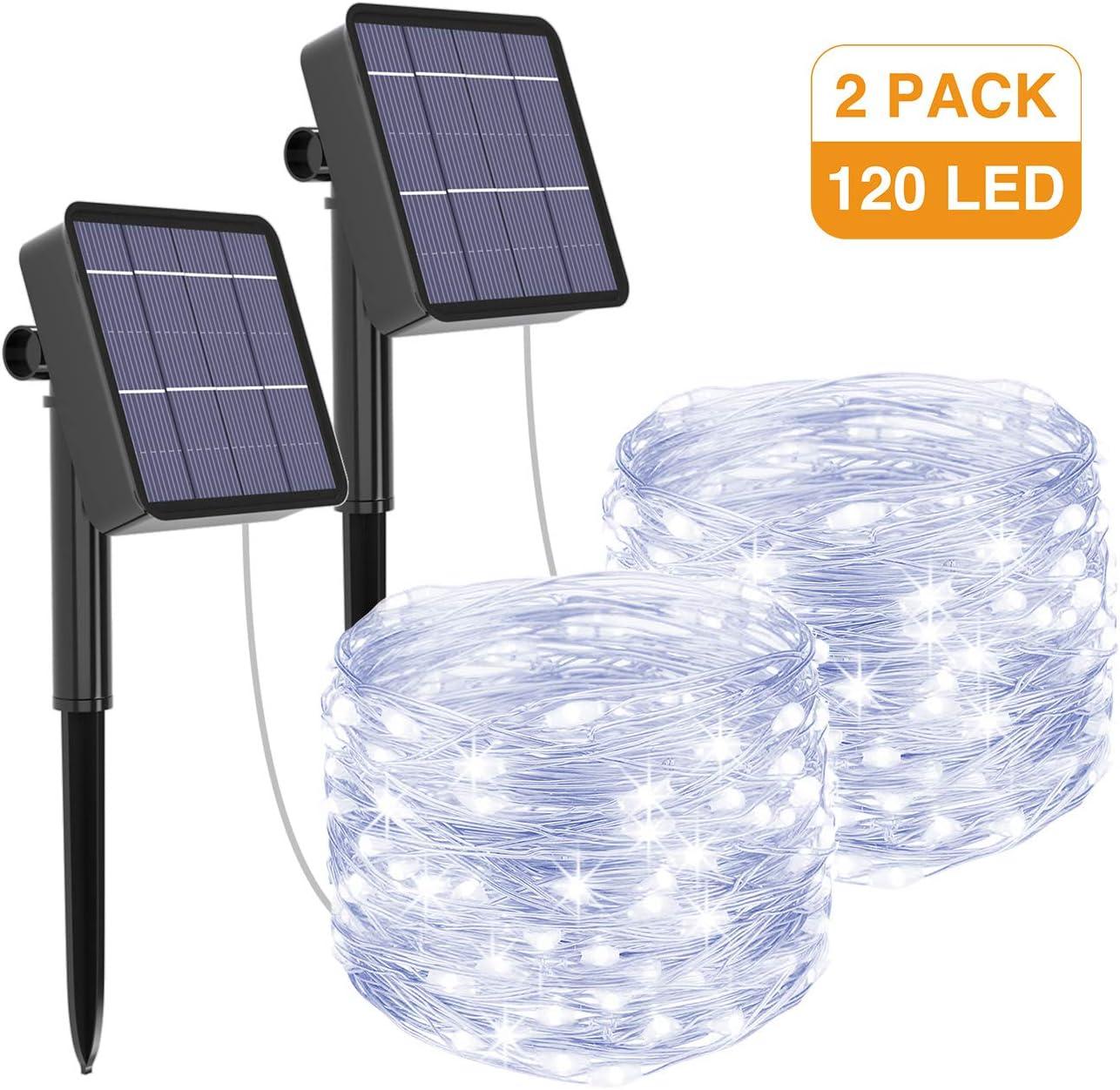 2 Pack] Guirnaldas Luces Exterior Solar, Litogo Luces Led Solares ...