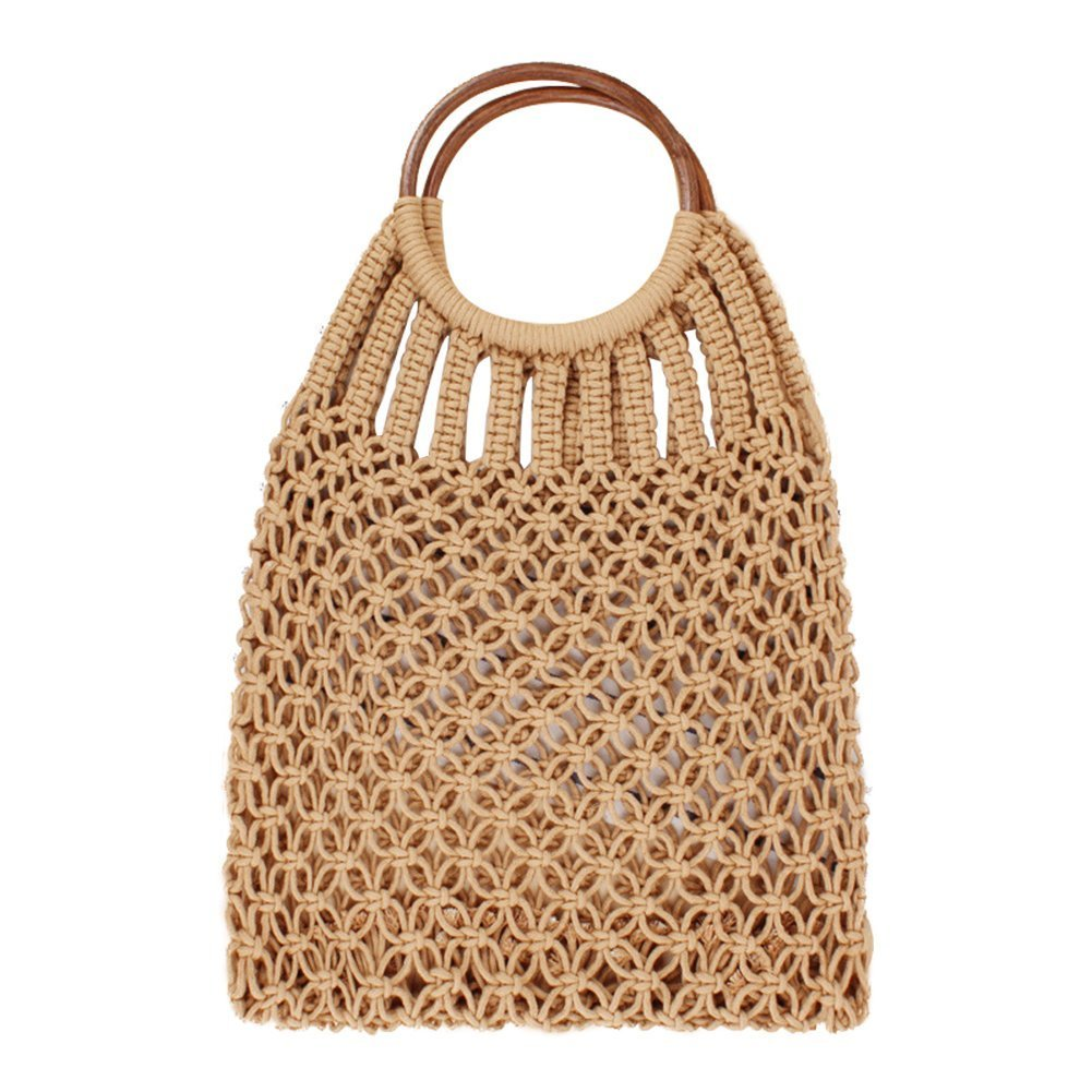 Outflower Hand Woven Straw Bag Shoulder Bag Round Handle Handbag Handmade Holiday Beach Bag