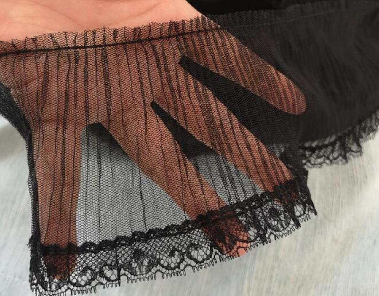 Blanco 9cm de ancho Negro Blanco Organza Plisado Chif/ón Encaje Encaje de lujo Collar Tela DIY Artesan/ías Costura Para vestido de prendas de vestir Guipure