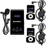 TIVDIO Professional Wireless Tour Guide System For Church Listening Teaching Conference Traveling Museum Square Dance Listening Field Interpretation(1 Transmitter and 2 Receivers)