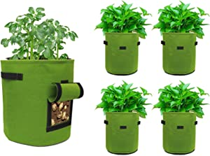 5 Pack 7 Gallon Potato Grow Bags, Breathable Nonwoven Plant Bags Aeration Fabric Pots with Reinforced Handles and Observable & Harvest Window Garden Containers or Growing Vegtables Flower and Plants