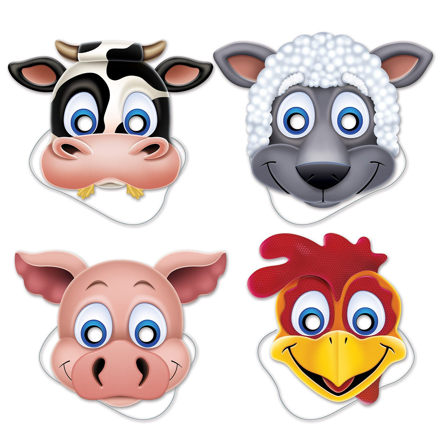 Beistle Farm Animal Masks, 10 1/4 by 13-Inch, Multicolor (2-Pack)