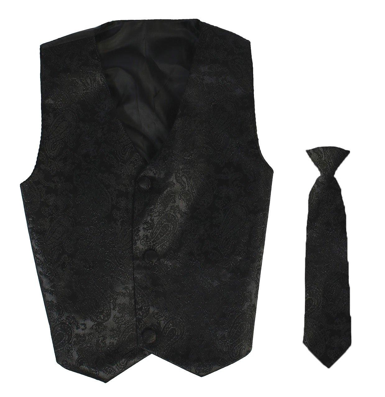 Vest and Clip On Boy Necktie set - Black Paisley - L/XL