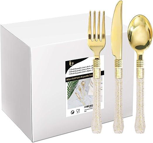 Amazon.com: 300 piezas de cubiertos desechables dorados ...