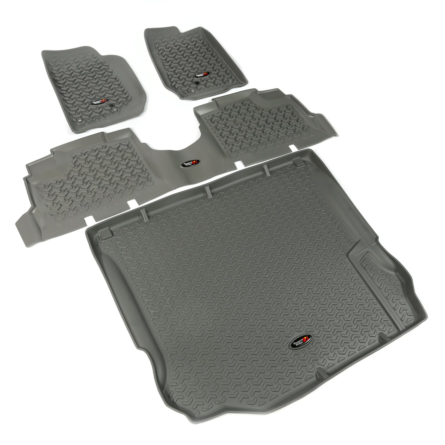 Rugged Ridge All-Terrain 14988.04 Grey Front, Rear and Cargo Floor Liner Kit For Select Jeep Wrangler Unlimited Models