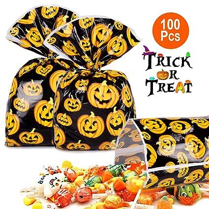 Amazon.com: 100 bolsas de calabaza de Halloween para ...