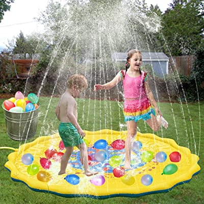 """WTOR Water Toys 68"""" Big Splash Play Mat Sprinkle Pad and 500Pcs Balloons for Summer Balloons Water Fight"""