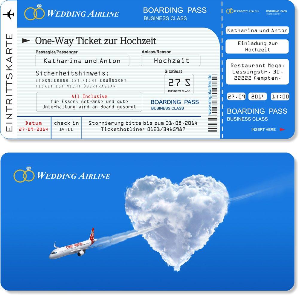 Einladungskarten zur Hochzeit als Flugticket mit mit mit Abriss-Coupon. 100 Stück B00WQ3KT32 | Reparieren  9b8e8a