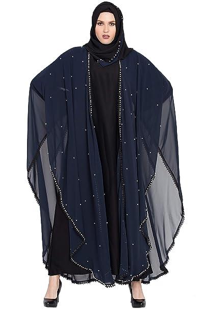 Abayalooks Navy Blue & Black Dubai Abaya For Women: Amazon