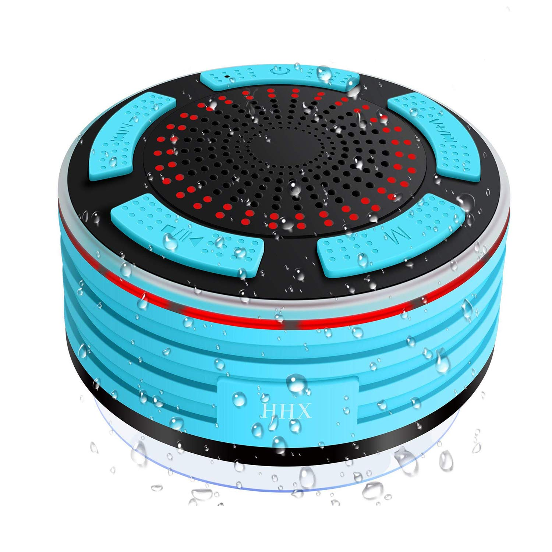 im Freien HHX wasserdichter Bluetooth 4.0-Lautsprecher mit starkem Saugnapf Dusche-Lautsprecher FM-Radio und mehreren LED-Farblicht Mini-tragbaren Lautsprecher f/ür eingebautem Mikrofon Dusche