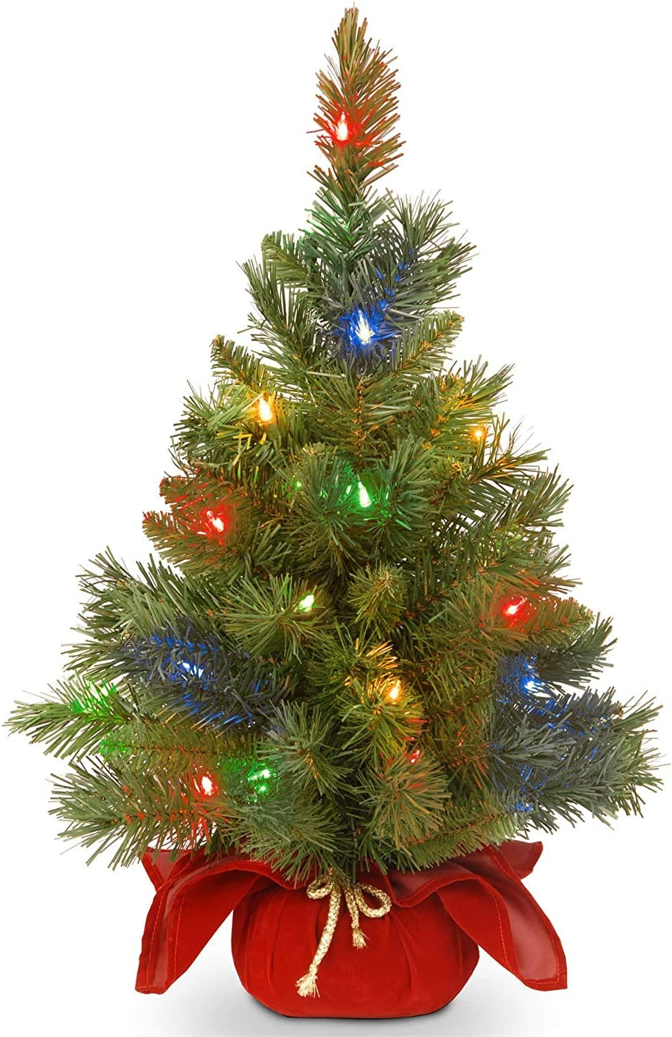 Amazon Com National Tree Company Pre Lit Artificial Mini Christmas Tree Includes Multi Color Led Lights And Cloth Bag Base Majestic Fir 2 Ft Home Kitchen