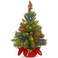 National Tree Company Pre-lit Artificial Mini Christmas Tree   Includes Multi-Color LED Lights and Cloth Bag Base…