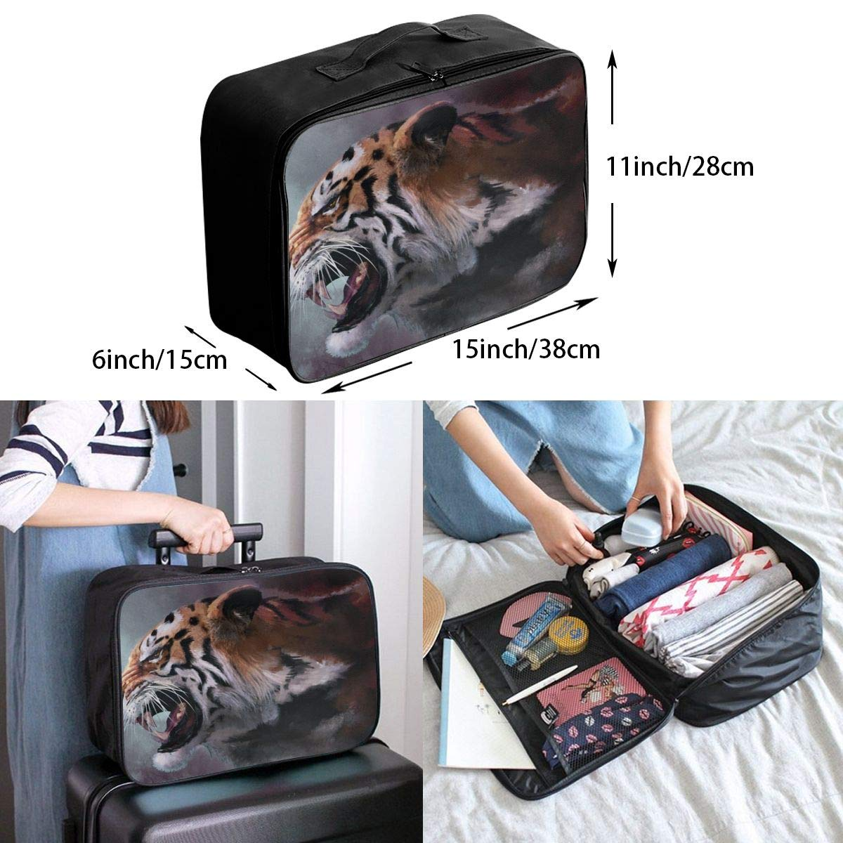 Travel Luggage Duffle Bag Lightweight Portable Handbag Tiger Pattern Large Capacity Waterproof Foldable Storage Tote