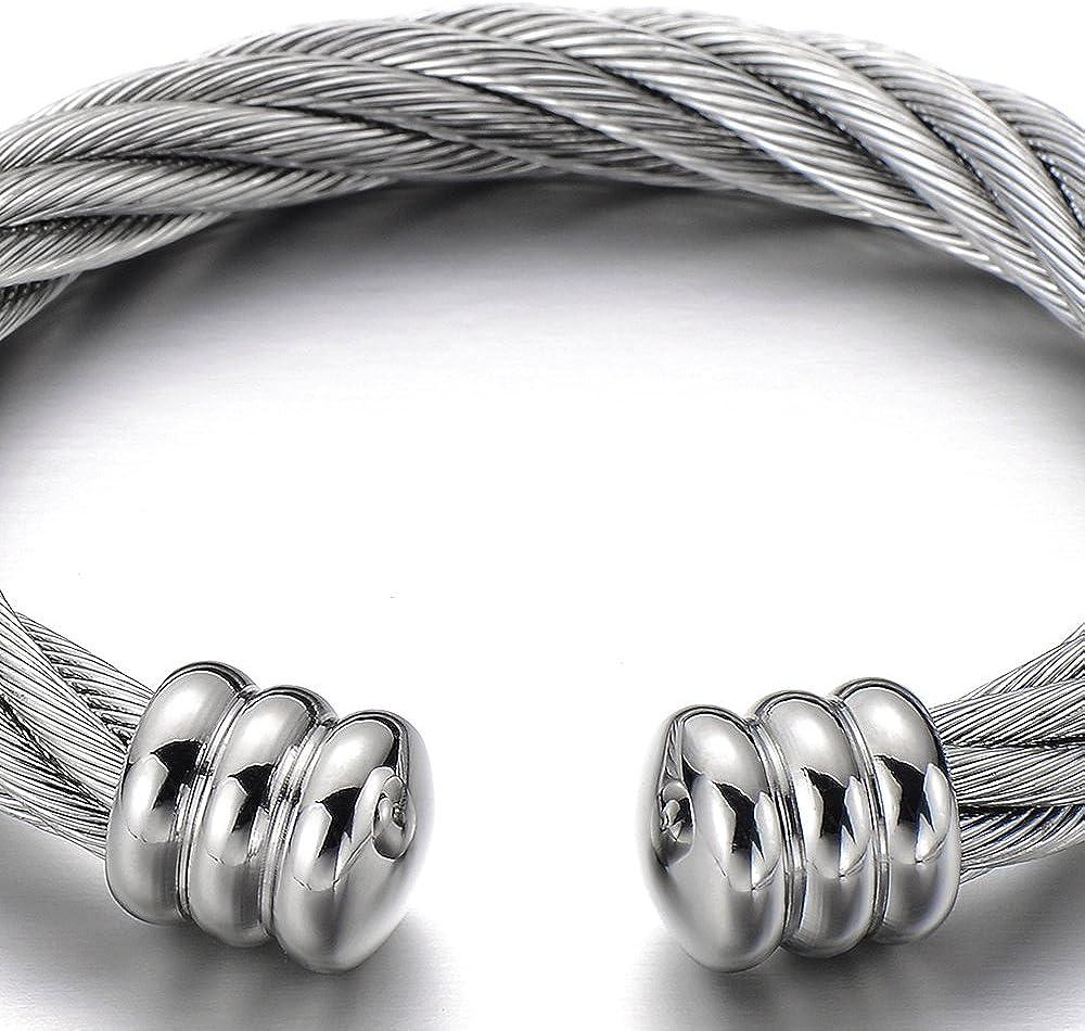 COOLSTEELANDBEYOND Large Elastic Adjustable Steel Twisted Cable Cuff Bangle Bracelet for Men Women