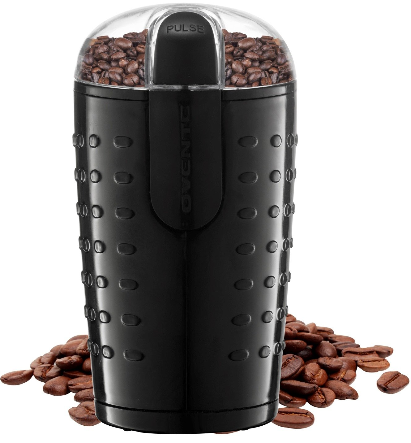 OVENTE One-Touch Electric Coffee Grinder and Other Spices-Seeds, Nuts, Grains-Stainless Steel Blades, Black (CG225B), 2.5oz by OVENTE
