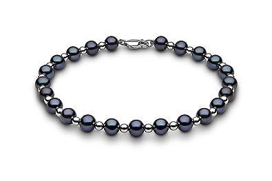 Kimura Cultured Black Freshwater Pearl Bracelet with Alternating, 9 ct