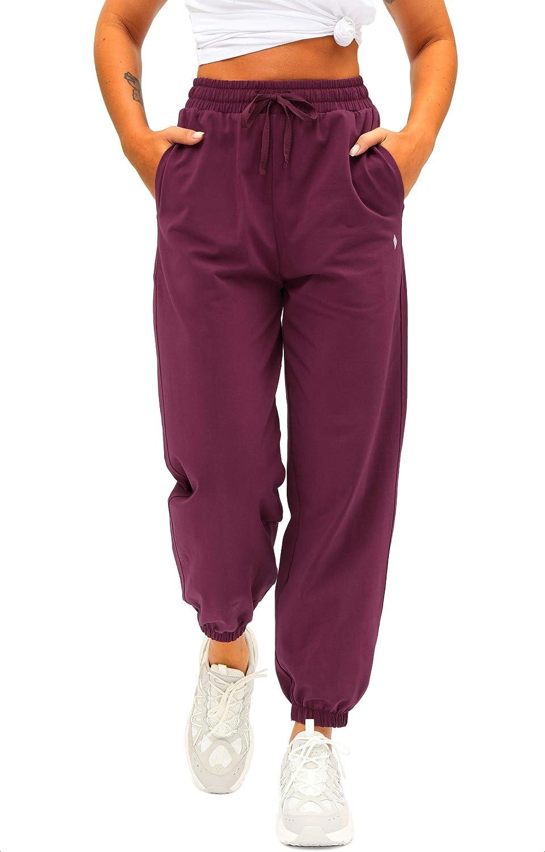 Womens Ladies High Waist Cuffed Bottom Jogging Joggers Loungewear Trousers Pants