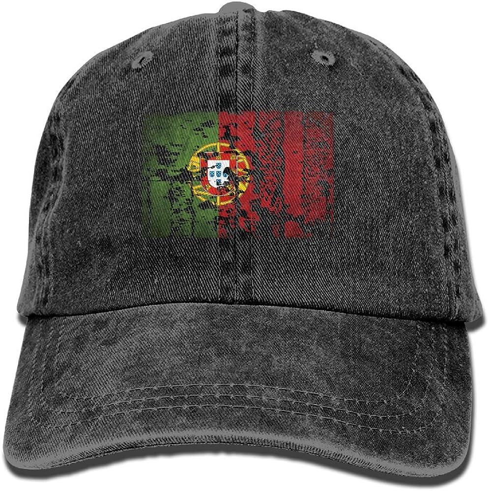 XZFQW Portugal Flag Trend Printing Cowboy Hat Fashion Baseball Cap for Men and Women Black