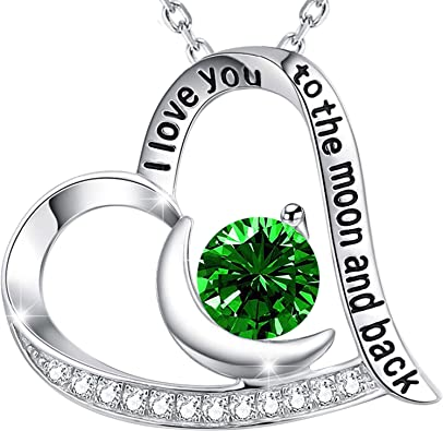 Amazon Com Christmas Emerald Necklace For Wife Birthday Gifts Women I Love You To The Moon And Back Sterling Silver May Birthstone Love Heart Jewelry Jewelry