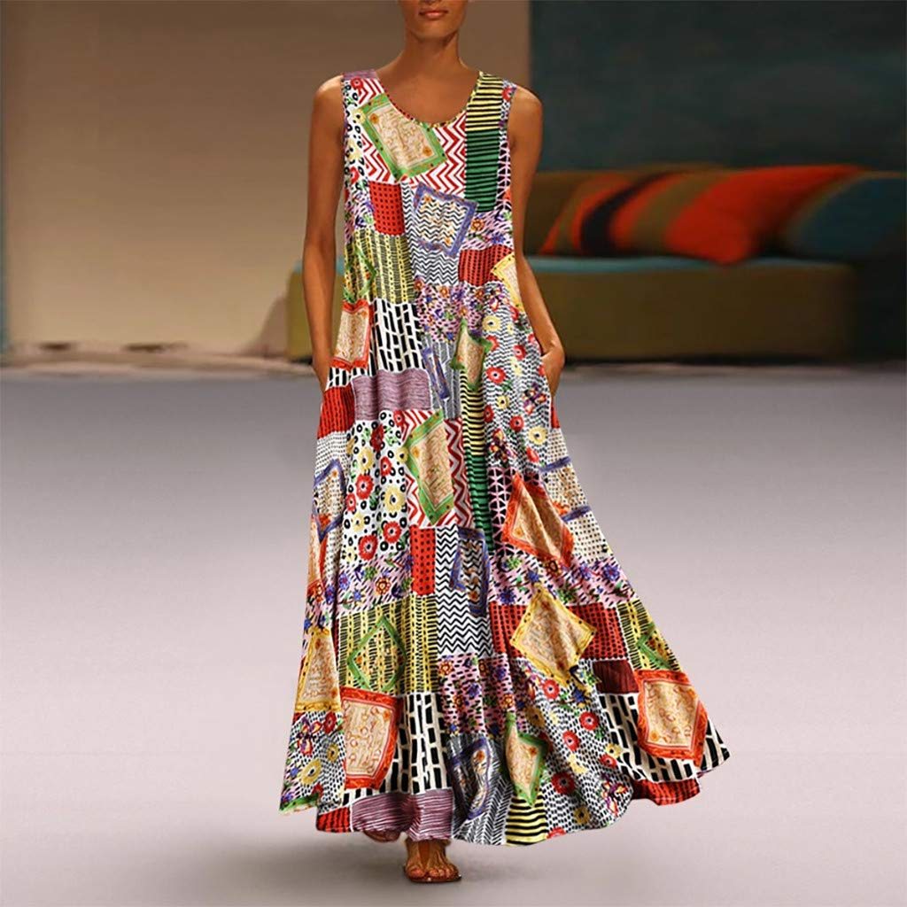 Vamoro Women Vintage Print Floral Patch Dress Sleeveless O-Neck Loose Maxi Dress Ladies Floral Print Summer Beach Casual Holiday Dress