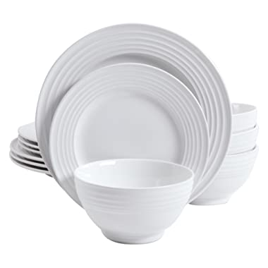 Gibson Home 12 Piece Plaza Cafe Round Dinnerware Set with Embossed Stoneware, White