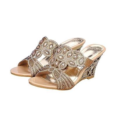 72e13bd0a Latasa Womens Fashion Rhinestones Open-Toe Slip On Wedge Slide Sandals  (4.5